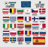Flaggor av Europeiska unionländer i tecknad filmstil stock illustrationer