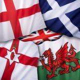 Flaggor av Förenade kungariket av Storbritannien Fotografering för Bildbyråer