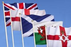 Flaggor av Förenade kungariket - brittiska öar Fotografering för Bildbyråer