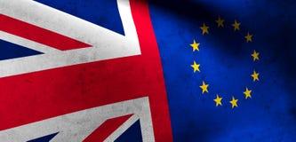 Flaggor av Förenade kungariket och den europeiska unionen UK-flaggaEU Royaltyfri Fotografi