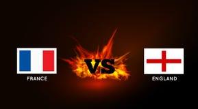 Flaggor av Frankrike och England mot VS symbol och brand vektor Arkivbild