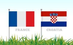 Flaggor av Frankrike och Kroatien mot bakgrunden av gräsfotbollsarena vektor Royaltyfria Bilder