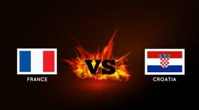 Flaggor av Frankrike och Kroatien mot VS symbol och brand vektor Fotografering för Bildbyråer