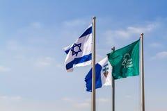 Flaggor av Israel i vinden royaltyfri fotografi