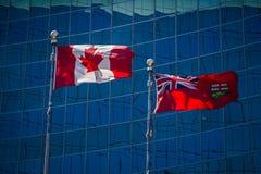 Flaggor av Kanada och Ontario Royaltyfria Foton