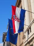 Flaggor av Kroatien och EU Royaltyfria Foton