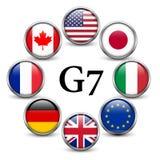Flaggor av länder G7 Royaltyfri Bild