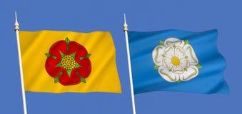 Flaggor av Lancashire och Yorkshire - Förenade kungariket arkivfoto