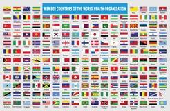 Flaggor av medlemsländer av världshälsoorganisationen stock illustrationer