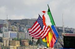 Flaggor av Naples, Italien Arkivbild