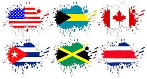 Flaggor av Nordamerika som fläckar Royaltyfri Bild