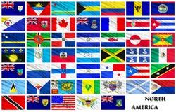Flaggor av norden - amerikanska länder i alfabetisk ordning Arkivfoto
