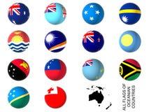 Flaggor av Oceanien länder Royaltyfri Bild