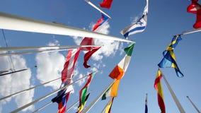 Flaggor av olika länder som viftar med i himmel lager videofilmer