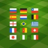 Flaggor av olika nationella fotbollslag Arkivbild