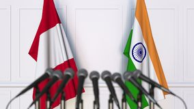 Flaggor av Peru och Indien på det internationella mötet eller konferensen framförande 3d Royaltyfria Bilder