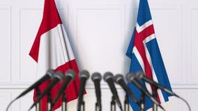 Flaggor av Peru och Island på det internationella mötet eller konferensen framförande 3d Royaltyfri Fotografi