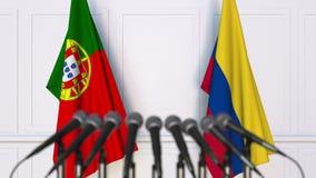 Flaggor av Portugal och Colombia på det internationella mötet eller konferensen framförande 3d Arkivbild
