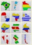 Flaggor av söder - amerikanska länder vektor illustrationer