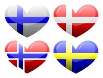 Flaggor av Skandinavien i form av hjärta Arkivfoto