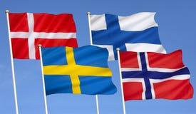 Flaggor av Skandinavien - Nordeuropa Royaltyfria Foton