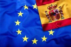 Flaggor av Spanien och den europeiska unionen Spanien flagga och EU-flagga Inre stjärnor för flagga Världsflaggabegrepp Royaltyfri Foto