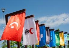 Flaggor av 16 stora turkiska väldear Arkivfoton