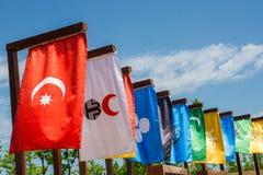 Flaggor av 16 stora turkiska väldear Royaltyfri Foto