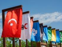 Flaggor av 16 stora turkiska väldear Fotografering för Bildbyråer