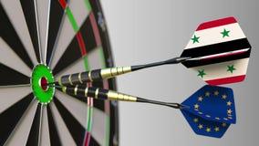 Flaggor av Syrien och den europeiska unionen på pilar som slår bullseyen av målet Internationellt samarbete eller konkurrens vektor illustrationer