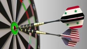 Flaggor av Syrien och USA på pilar som slår bullseyen av målet Begreppsmässiga internationellt samarbete eller konkurrens royaltyfri illustrationer