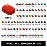 Flaggor av uppsättning A-G för flaggor för världslandssamling isometrisk royaltyfri illustrationer