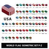 Flaggor av uppsättningen P-Z för flaggor för världslandssamling den isometriska stock illustrationer