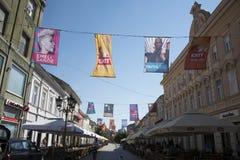Flaggor av UTGÅNGSfestivalen 2015 i centrum av Novi Sad Fotografering för Bildbyråer