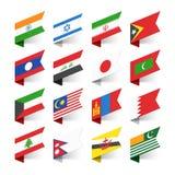 Flaggor av världen, Asien royaltyfri illustrationer