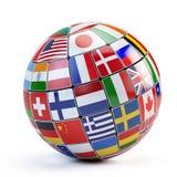 Flaggor av världen i jordklot vektor illustrationer
