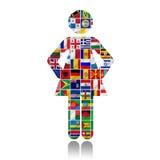 Flaggor av världen med symbolsseten Royaltyfria Bilder