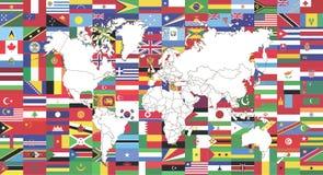 Flaggor av världen och översikt av världen stock illustrationer