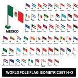 Flaggor av världslandssamlingen Pole sjunker den isometriska uppsättningen H-O stock illustrationer