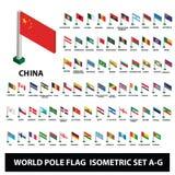 Flaggor av världslandssamlingen Pole sjunker isometrisk uppsättning A-G royaltyfri illustrationer