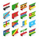 Flaggor av världen, Afrika Fotografering för Bildbyråer