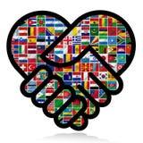 Flaggor av världen med symbolsseten Royaltyfri Foto