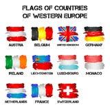 Flaggor av Västeuropaländer från borsteslaglängder Royaltyfri Fotografi