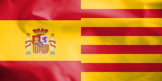 flaggor 3D av Spanien och Catalonia Vektor Illustrationer
