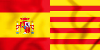 flaggor 3D av Spanien och Catalonia Stock Illustrationer