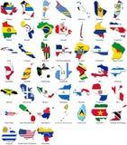 flaggor för Amerika kantland ställde in världen fotografering för bildbyråer