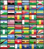 Flaggor för beståndsdeldesignsymboler av länderna av Afrika Royaltyfri Foto