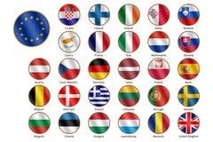 flaggor för commission för bakgrundsBelgien berlaymont brussels byggnad headquarters europeiska union royaltyfri illustrationer