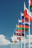 Flaggor för europeiskt land i rad fotografering för bildbyråer