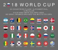 Flaggor för Fifa-världscup 2018 av 32 länder stock illustrationer